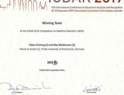 Planet AI winning ICDAR 2019 Competition on Baseline Detection (cBAD)